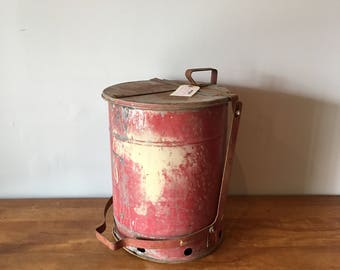Vintage industrial rag tin trash can - nice red patina