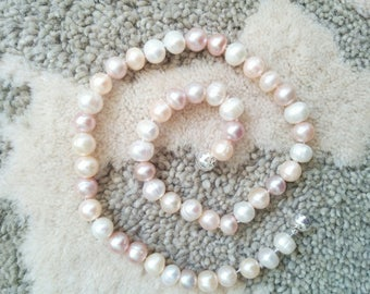 One Strand Large Fresh Water Pink Pearl Necklace.