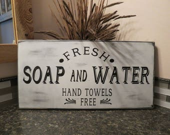Fresh Soap and Water Bathroom Sign / Farmhouse Bathroom Decor / Home Decor / Wall Hanging / Farmhouse Wall Decor / Distressed