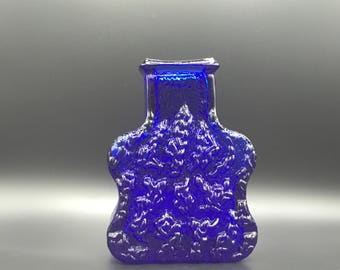"Walther Glas Vase ,blue ,,On the Rocks""  relief  glass,  Bad Driburg- West Germany."