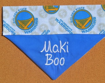 NBA ~ Golden State Warriors ~ Personalized/Reversible ~ Over The Collar Dog Bandana