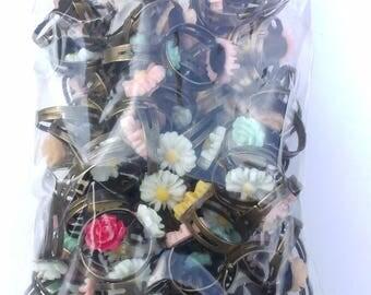 100 Adjustable Flower Fashion Rings