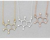 Caffeine Molecule Coffee Gift Caffeine Necklace • Barista Gift Coffee Lover Necklace Coffee • Science Gift Teacher Physics Mother's Day Gift