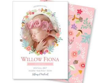 Photo Birth Announcement - Hello World Announcement, Newborn Girl Announcement - DIY printable digital file - watercolour flowers, globe