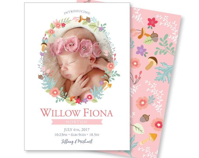 Photo Birth Announcement - Hello World Announcement, Newborn Girl Announcement - DIY printable digital file - watercolour flowers, globe