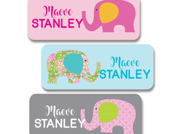 Back to School Name Labels, Personalized Elephant Waterproof Stickers - 30 dishwasher safe labels