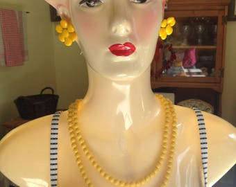 Yellow Necklace And Yellow Flower Earrings Clip