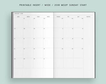 Printable TN Insert - Wide - 2018 Sunday Start Monthly Planner, Traveler's Notebook Insert, Printable Planner
