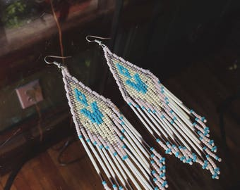 Large Seed Bead and Porcupine Quill Earrings