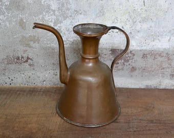 Old copper pitcher, old copper, old italian copper, copper kitchenware, vintage copper kitchenware, vintage copper pan, copper diffusor pan