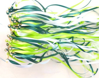 20 wand ribbons for wedding ceremony - vegetable EcoloChic theme