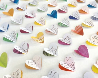 Personalised wedding guest book alternative. Guest book wedding. 100 hearts. LARGE SIZE. Wedding gift. Wedding memento. Colourful wedding