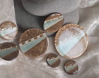 cabochons harmony land and sea, set of 7 pieces for creations