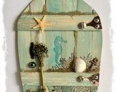 NEW Handcrafted Water Fairy Door / Mermaid Fairy Door / Water Pixie Door / Sea Nymph (Light Turquoise Pointed Arch)