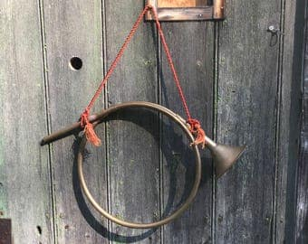 Vintage 1980s brass Hunting Horn for your door decor