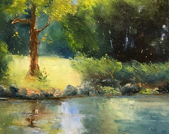 river painting, Plein Air Art Painting,  Farm painting, Rustic, Midwestern Scene