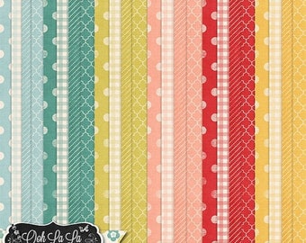 On Sale 50% Take Time To Laugh Patterned Background Papers, Polkadots, Gingham, Stripes, Quarterfoil, Digital Scrapbooking Kit