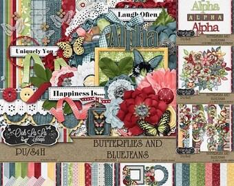 On Sale 50% Butterflies and BlueJeans Collection Digital Scrapbook Kit - Digital Scrapbooking
