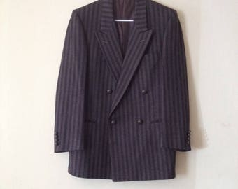 60s Gray Pinstripe Wool Jacket with Wide Lapel by Chavari for Backers New Haven CT Size 38
