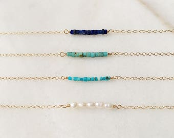 The Odd Ones Out gemstone bracelets | Lapis lazuli, turqoise, pearl | 14k gold filled & sterling silver