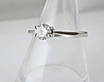 18ct white gold 0.45 carat diamond solitaire ring size L H colour certified