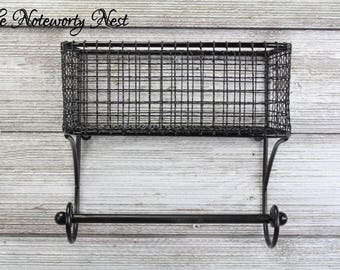 Basket & Towel Rod -bath kitchen organization organization / Industrial Kitchen / Industrial Bathroom / Farmhouse Kitchen/ Black Wire Basket
