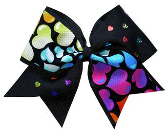Black Hearts Cheer Hair Bow