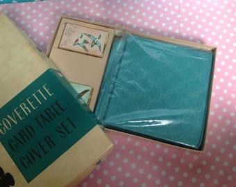 NOS card table cover, aqua tablecloth, blue tablecloth, turquoise tablecloth, quilted tablecloth, card table tablecloth, cover set