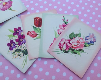 12 vintage blank cards, blank note cards, floral cards, unused cards, all-occasion cards, roses, lilies, beauty blossom note, envelopes