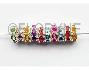 10 Metal Rondelles 8Mm with Rhinestones - spacer beads