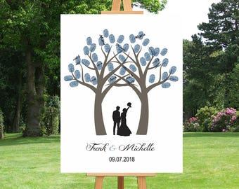 Alternative | Wedding Thumbprint Tree Guest Book | Wedding Gift For Couple | Anniversary | Family Tree | Custom Canvas | Wall Art - 45077