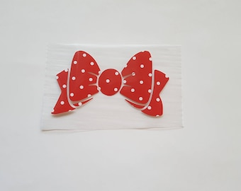 "Closeout! 4"" Bow RED & White Polka Dot Printed Vinyl IRON On T-Shirt Transfer Ready to Ship!"