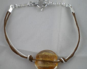 Bra033 - Brown and white Bracelet with round bead
