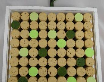 Tableau018 - Green and white decorative Cork Board