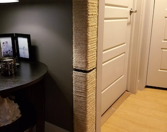 Wall Corner Cat Scratching Post 18-24 inches tall, Stained Pine, Sisal Rope