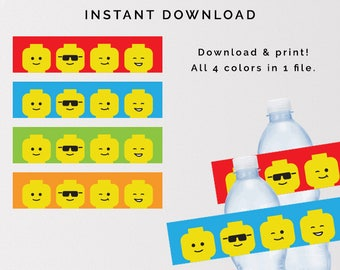 Lego Water Bottle Labels, Lego Birthday Printables, Lego Birthday Party Labels, Lego Building Blocks Birthday Party, Instant Download