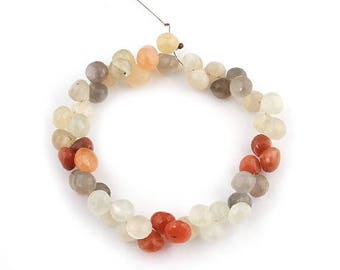 Fathers Day Sale 1 Strand Multi Moonstone Faceted  Briolettes - Moonstone Onion Beads 8mm-9mm 8 Inches SB1419