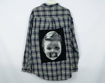 Upcycled Flannel with Korn on back