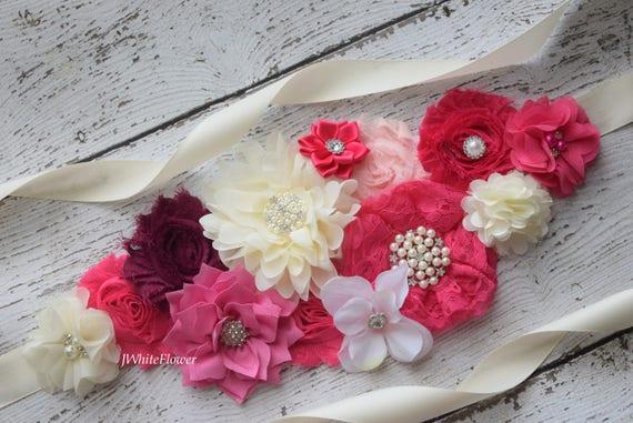 Sash, hot pink ivory plum Sash,  flower Belt, maternity sash, wedding sash, flower girl sash, maternity sash belt