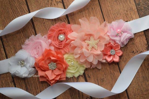 Maternity sash belt, coral yellow white pink Sash, beach sash,#2,  flower Belt, maternity sash, baby shower gift