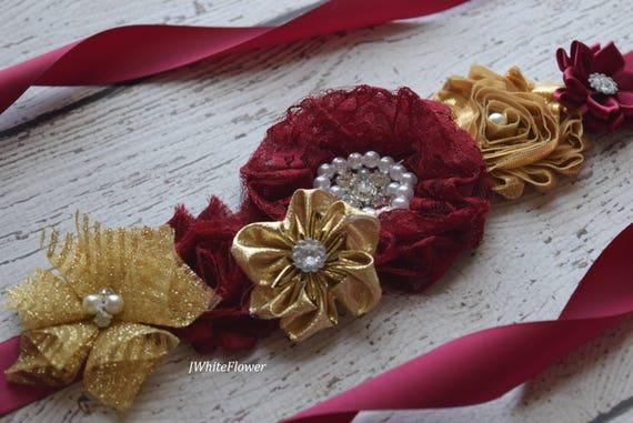 Sash, gold burgundy  Sash,#2, flower Belt, maternity sash, wedding sash, baby shower sash