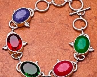 925 Sterling Silver (Plated) Multi-Gemstone Bracelet
