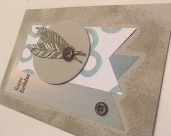 Birthday card, blue and taupe feathers card