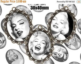SALE 50% Digital Collage Sheet Marilyn Monroe 30x40 Printable Oval Download for pendants magnets Cabochons jewelry