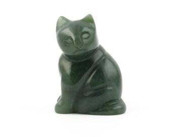 Canadian Nephrite Jade Cat, Sitting