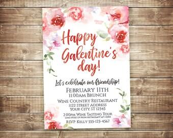 Galentines Day Invitation, Galentine's Day Invite, Friendship Celebration Invitations, Wine Tasting Invitation, Valentine's Day Party Invite