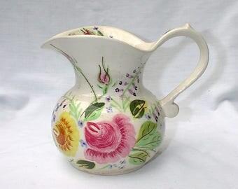 Vintage Blue Ridge Southern Pottery Sally Ida Rose Pitcher