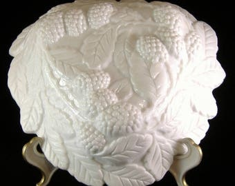 Milk Glass Triangular Bowl Indiana Glass Loganberry 7 Inches Molded Berries Leaves