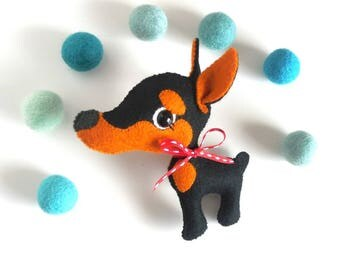 Dobby-Doberman Pinscher Dog-Puppy-PDF pattern-Dobermann dog-DIY Project-Nursery decor-Instant Download-Cute dog-Felt puppy-Felt dog