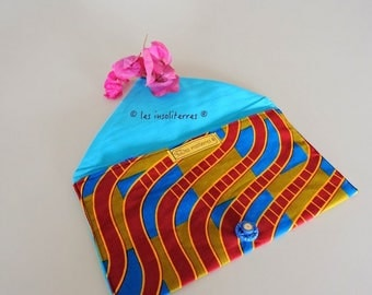 printed Pochette wax contrasting 4 Super chic and fashion multicolor printed wax cotton lining